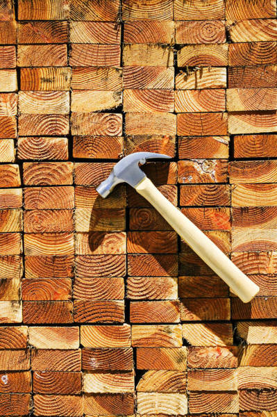 Wood Pile Photograph - Hammer And Stack Of Lumber by Garry Gay