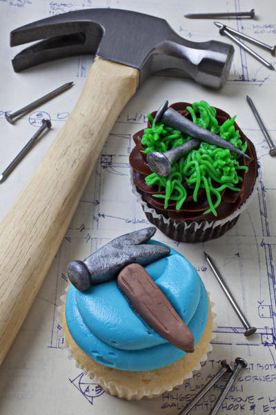 Nails Photograph - Hammer Cupcake by Garry Gay
