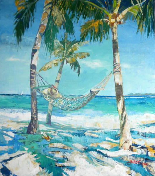 Caribbean Wall Art - Painting - Hammock And Palms by Jan Farara