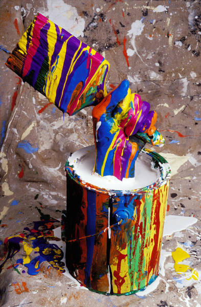 Hand Painted Photograph - Hand Coming Out Of Paint Bucket by Garry Gay