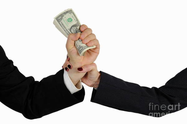 Paper Dress Photograph - Hand Grabbing Businessman Fistful Of Money by Sami Sarkis