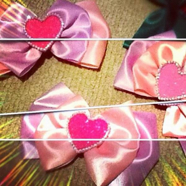 Handmade Wall Art - Photograph - Hand Made Bows With Bling by Avril O