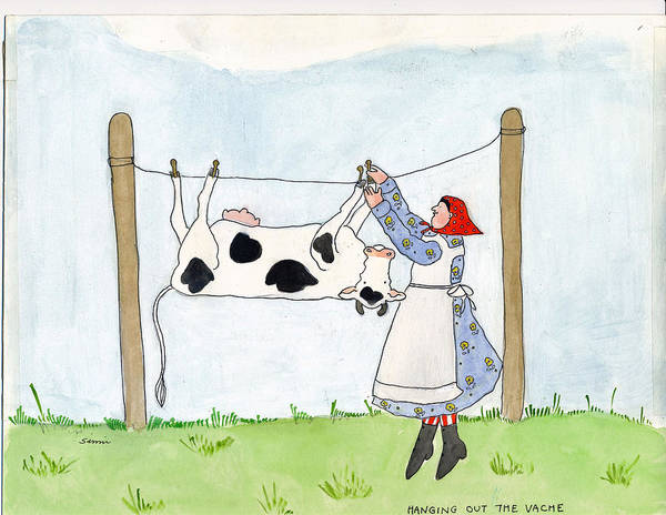 Wall Art - Painting - Hanging Out The Vache by Simi Berman