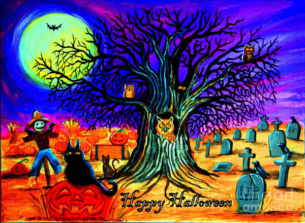 Black Crowes Wall Art - Painting - Happy Halloween Spooky Night by Nick Gustafson