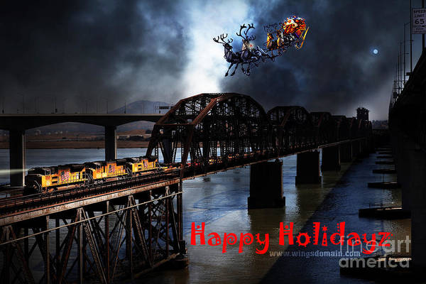 Benicia Bridge Wall Art - Photograph - Happy Holidays - Once Upon A Time In The Story Book Town Of Benicia California - 5d18849 by Wingsdomain Art and Photography