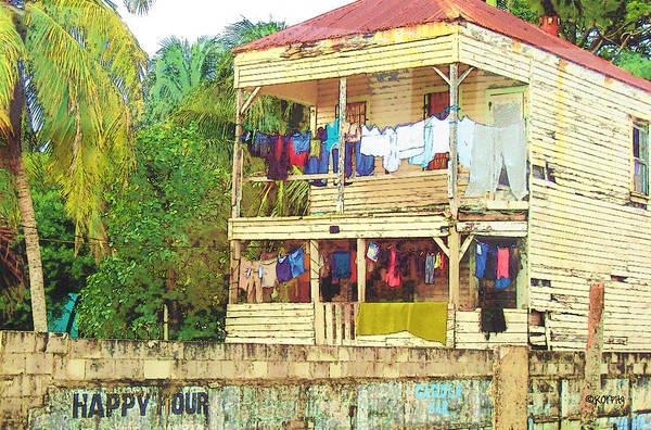 Belize Digital Art - Happy Hour Washday Belize by Rebecca Korpita