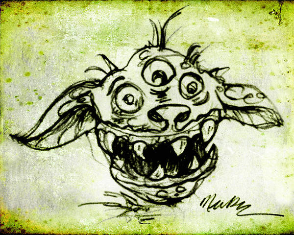 Drawing - Happy Monster  by Nada Meeks