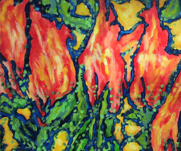 Wall Art - Painting - Happy Red Tulips by Laura Heggestad