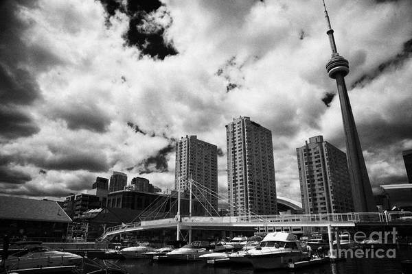 Powerboat Photograph - Harbourfront Marina And Pedestrian Bridge Toronto Skyline Ontario Canada by Joe Fox