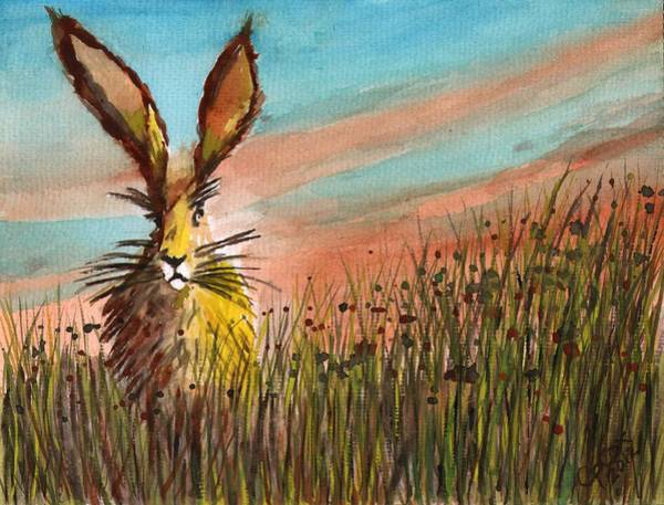 Chris Cox Painting - Hare In The Meadow by Chris Cox