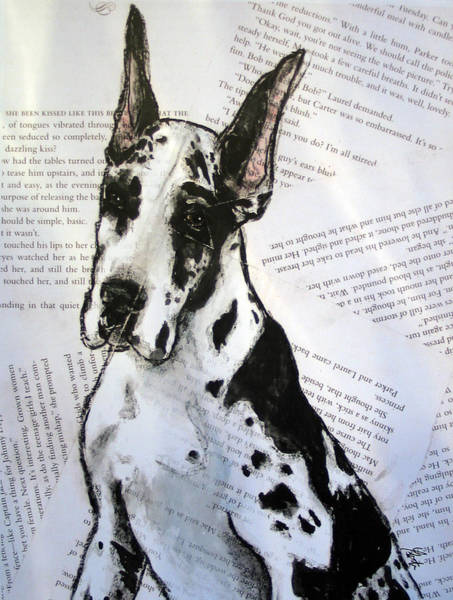 Black Great Dane Painting - Harlequin Romance Puppy by Christas Designs