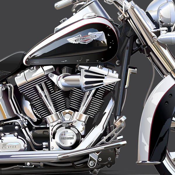 Museum Digital Art - Harley Davidson Detail by Alain Jamar
