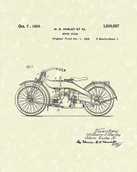 Wall Art - Drawing - Harley Motorcycle 1924 Patent Art by Prior Art Design