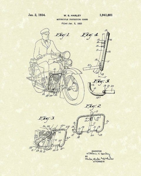Drawing - Harley Motorcycle 1934 Patent Art by Prior Art Design