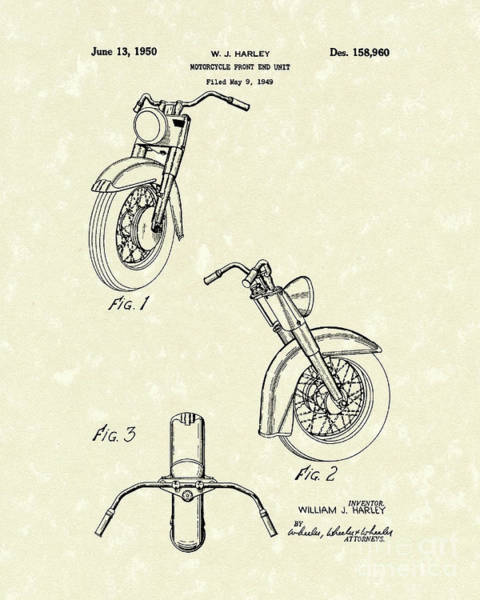 Drawing - Harley Motorcycle 1950 Patent Art by Prior Art Design
