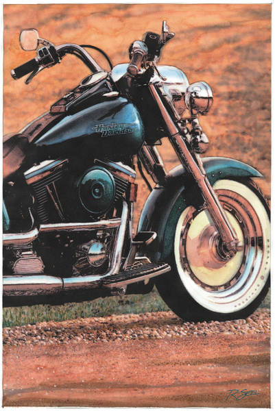 Painting - Harley Softtail by Rod Seel