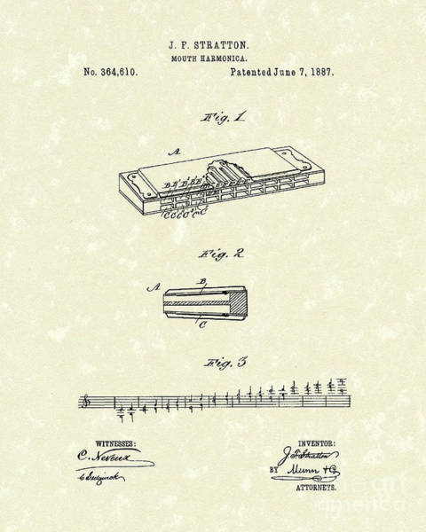 Drawing - Harmonica Stratton 1887 Patent by Prior Art Design