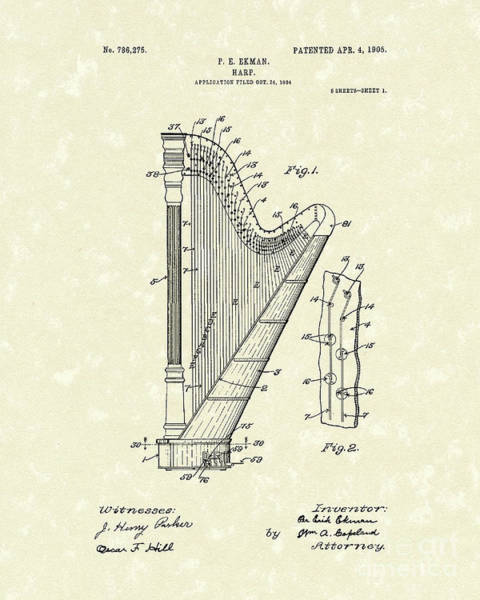 Wall Art - Drawing - Harp Ekman 1905 Patent Art by Prior Art Design