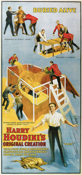 Buried Painting - Harry Houdini Buried Alive by Unknown