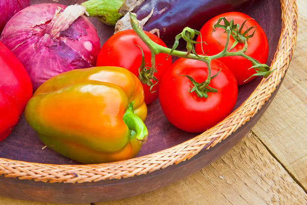 Bell Peppers Photograph - Harvest Vegetables by Tom Gowanlock