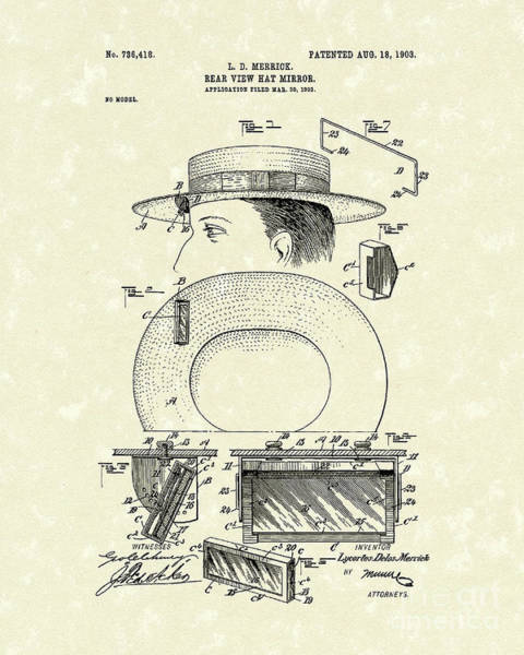 Drawing - Hat Mirror 1903 Patent Art by Prior Art Design