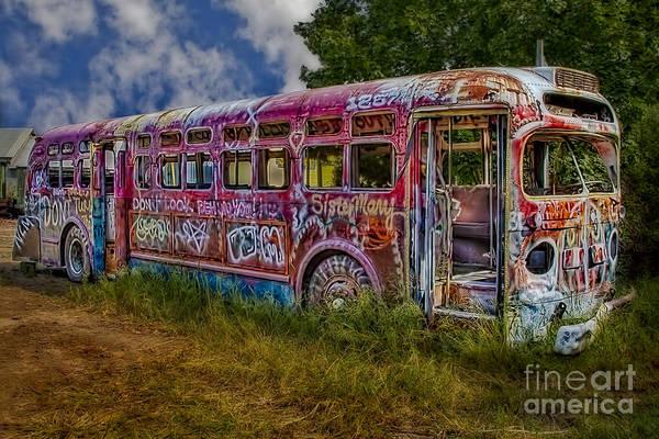 Photograph - Haunted Graffiti Bus Art by Susan Candelario