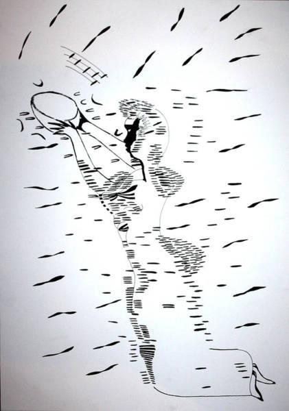 Drawing - Hausa Dance - Nigeria by Gloria Ssali
