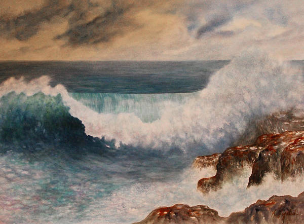 Wave Breaking Painting - Hawaiian Wave by Kerri Ligatich