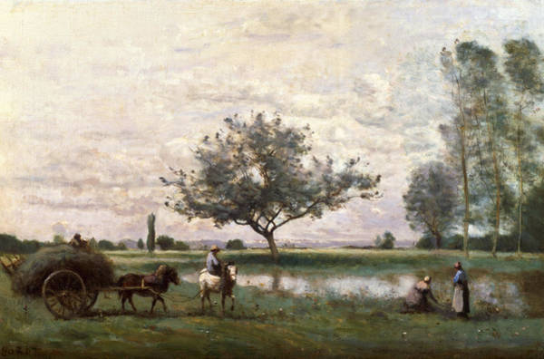 Riviere Wall Art - Painting - Haycart Beside A River  by Jean Baptiste Camille Corot