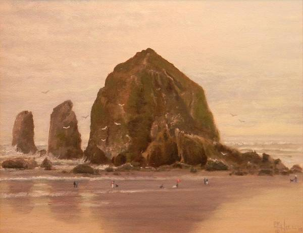 Cannon Beach Painting - Haystack Rock by Paul K Hill