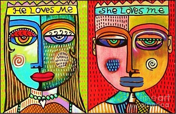Painting - He Loves Me She Loves Me by Sandra Silberzweig