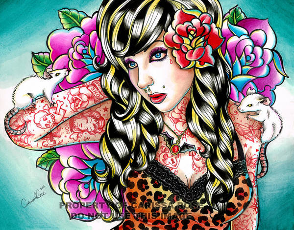 Tattoo Flash Painting - Head Noise Tattooed Pinup Girl by Carissa Rose Stevens