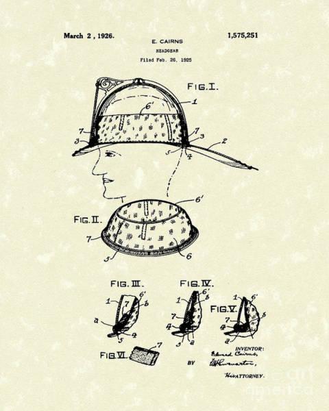 Drawing - Headgear 1925 Patent Art by Prior Art Design