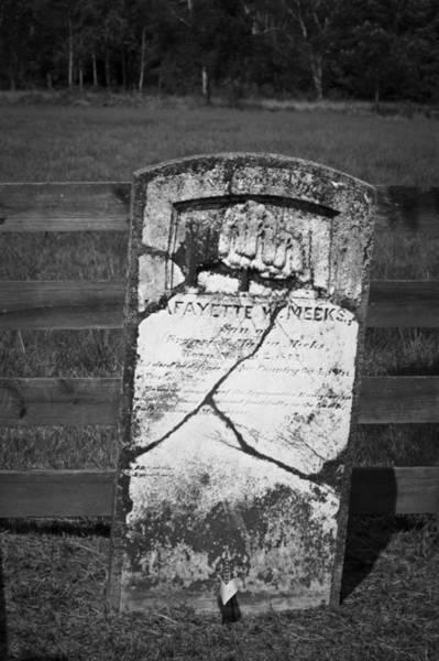 Between The Trees Photograph - Headstone Of Lafayette Meeks by Teresa Mucha