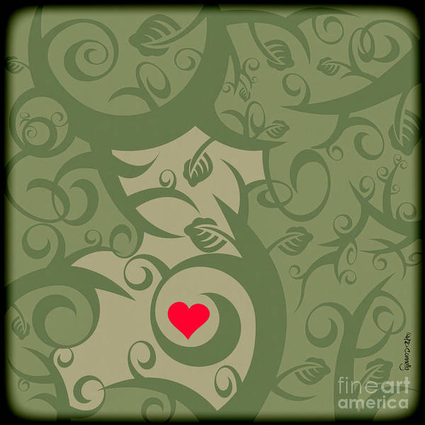 Red Heart Digital Art - Heart And Vines by HD Connelly