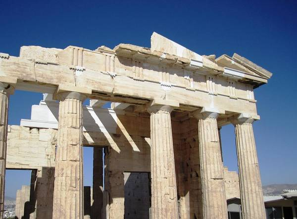 Photograph - Heavenly Acropolis Parthenon Architectural Columns II With Blue Sky In Athens Greece by John Shiron