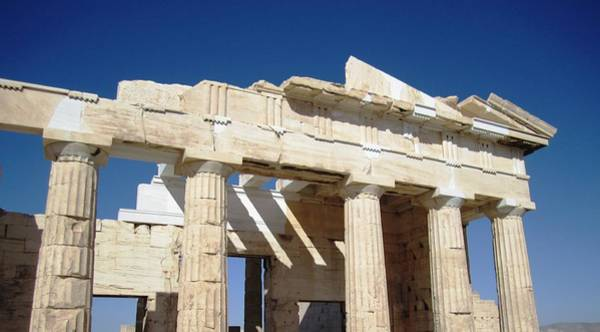 Photograph - Heavenly Acropolis Parthenon Architectural Columns With Blue Sky In Athens Greece by John Shiron