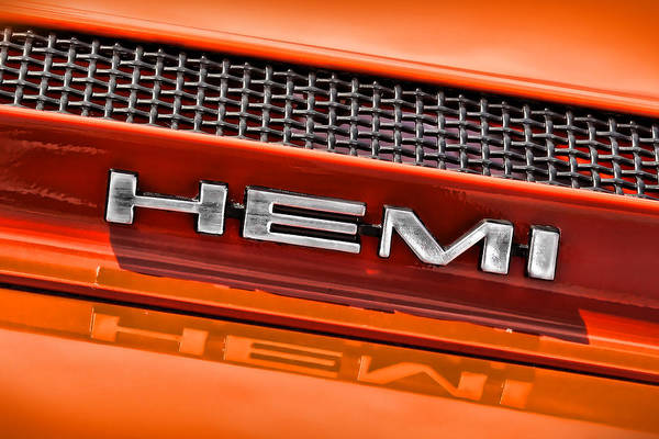 383 Photograph - Hemi Plymouth Gtx Hood Badge by Gordon Dean II