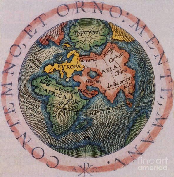 Photograph - Hemispherical World Map, 1601 by Photo Researchers