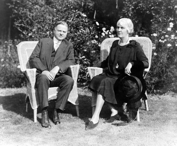 Wall Art - Photograph - Herbert Hoover Seated With His Wife by International  Images