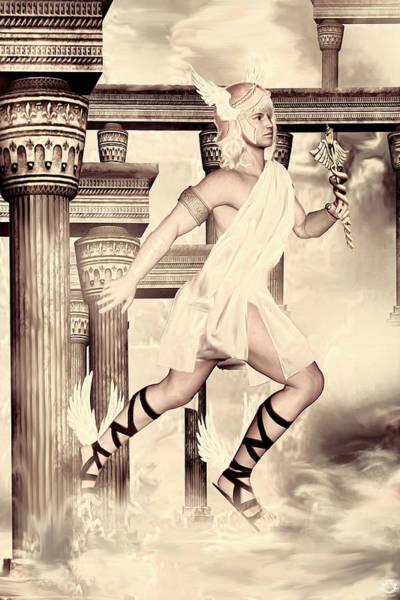 Deity Digital Art - Hermes by Lourry Legarde