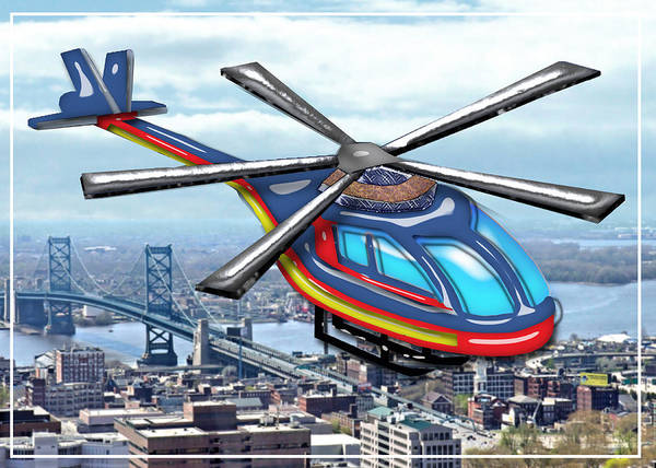 Helicopter Painting - High Flying Helicopter Over Highways  by Elaine Plesser