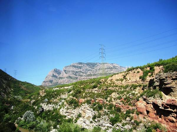 Photograph - Highway Scenery II Towards Montserrat Mountain Top From Barcelona Spain by John Shiron