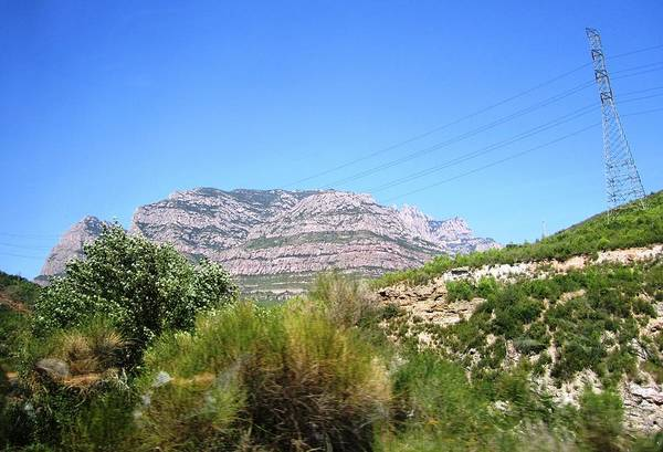Photograph - Highway Scenery IIi Towards Montserrat Mountain Top From Barcelona Spain by John Shiron