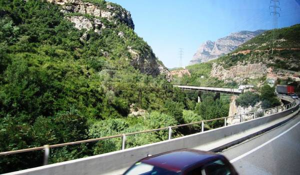 Photograph - Highway Scenery Towards Montserrat Mountain Top From Barcelona Spain by John Shiron