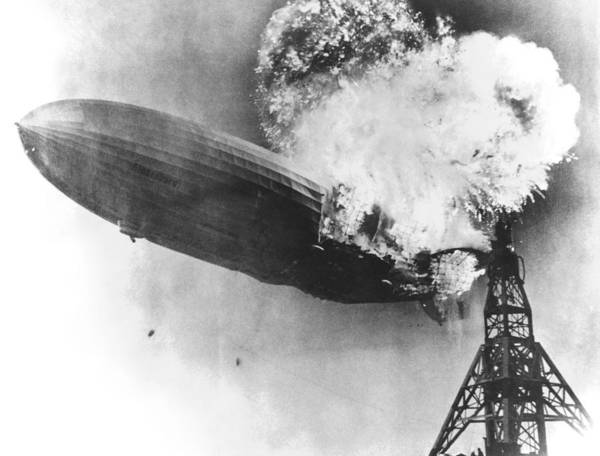 Lakehurst Photograph - Hindenburg Crash, 1937 by Us Navy