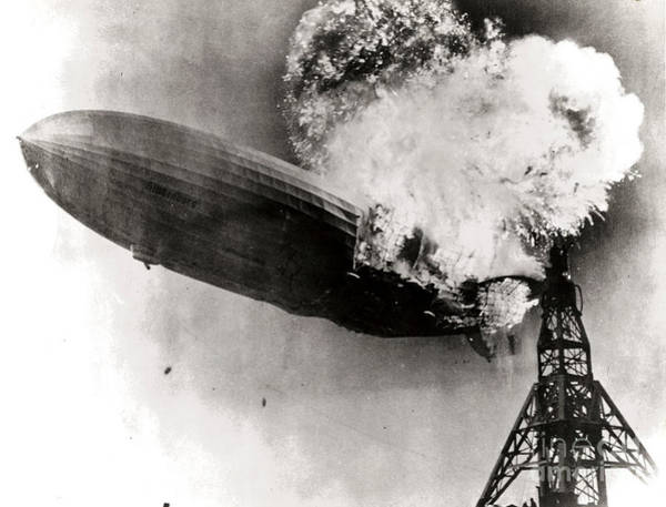Lakehurst Photograph - Hindenburg Disaster, May 6th, 1937 by Photo Researchers