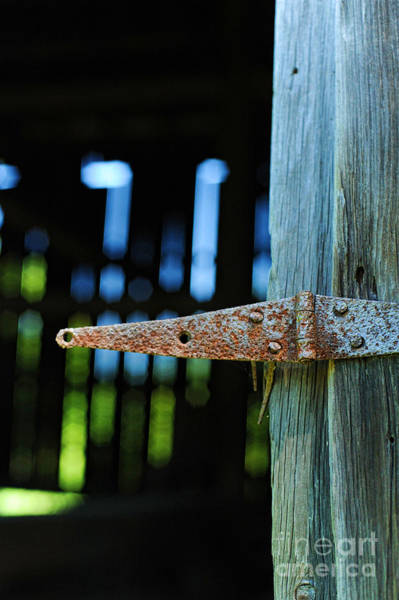 Hinges Photograph - Hinge With Barn Interior In The Background by HD Connelly