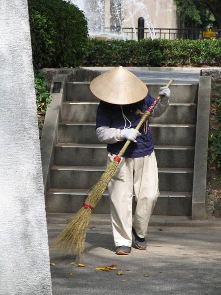 Coolie Photograph - Hiroshima Street Sweeper by Bob Davis
