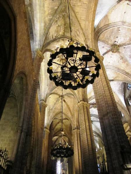 Photograph - Historic Cathedral Building Architecture And Tall Interior Columns Barcelona Spain by John Shiron